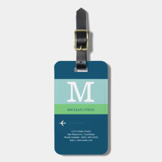blue modern travel monogram bag tag