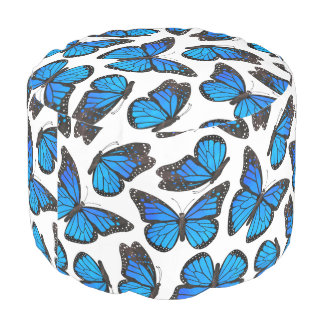 Blue Monarch Butterfly Pattern Pouf