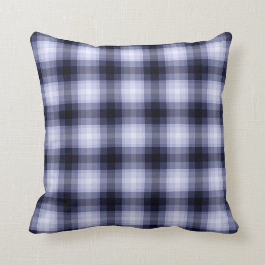 Blue Monochrome Plaid Throw Pillow