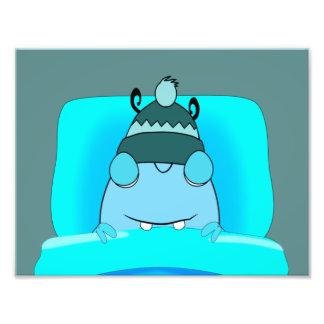 Blue Monster In Bed Sleeping Art Photo