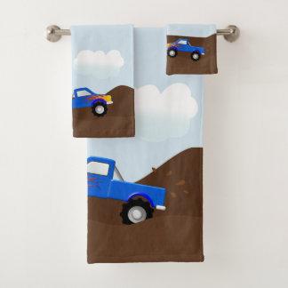Blue Monster Trucks With Flames Bath Towel Set