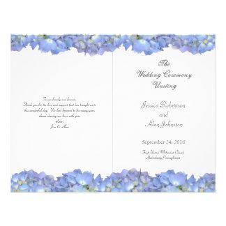 Blue Moon Folded Floral Wedding Program Template Flyer