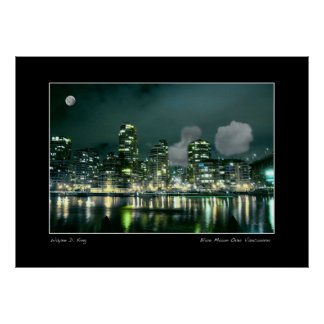 Blue Moon Over Vancouver Print