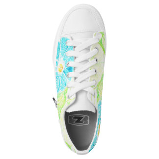 Blue Morning Glory: White Printed Shoes