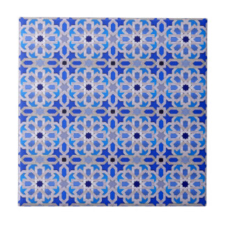 Blue Moroccan Geometric Pattern Small Square Tile