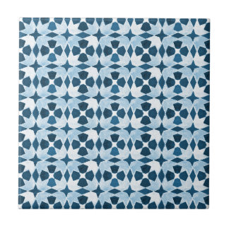 Blue Moroccan Symetry Pattern Small Square Tile