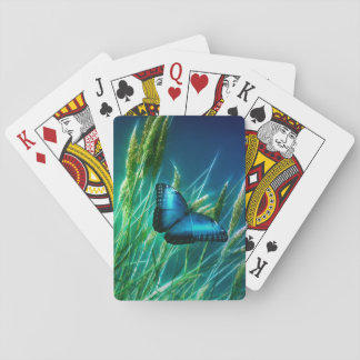 Blue Morpho Butterfly on Green Grass Playing Cards