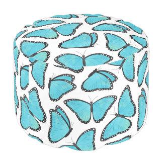 Blue Morpho Butterfly Pattern Pouf