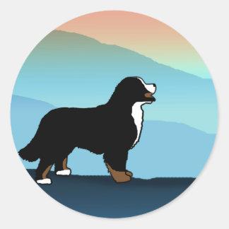 Blue Mountain Bernese Dog Classic Round Sticker