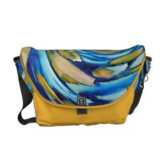 Blue N Gold Abstract Art Rickshaw Messenger Bag