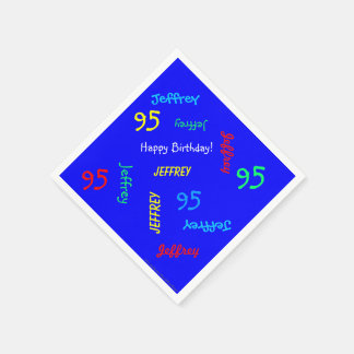 Blue Napkin 95th Birthday Party Repeating Name Disposable Serviettes