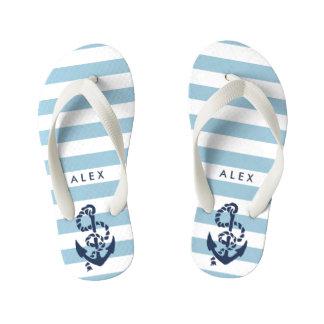 Blue Nautical Anchor Boys Flip Flops Thongs