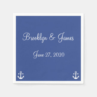 Blue Nautical Wedding Napkins With Anchor Disposable Napkins