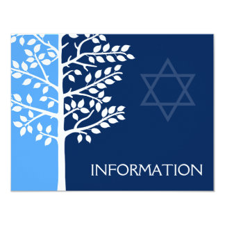 Blue Navy Tree of Life Bar Mitzvah Information 11 Cm X 14 Cm Invitation Card