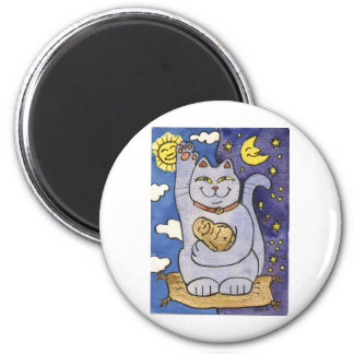 Blue Neko with Buddha on Gold Pillow 6 Cm Round Magnet