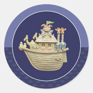 Blue Noah's Ark Classic Round Sticker