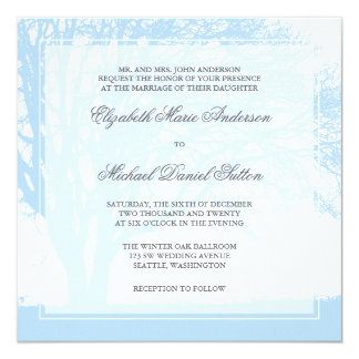 Blue Oak Tree Winter Wedding Card