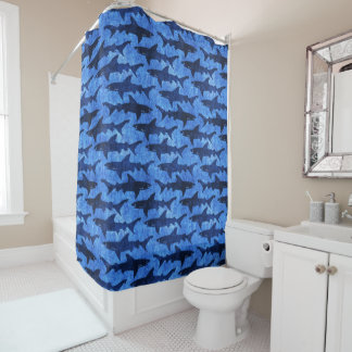 Blue Ocean Shark Pattern Shower Curtain