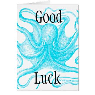 Blue Octopus Good Luck Greeting Card