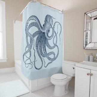 Blue Octopus Vintage Illustration Shower Curtain