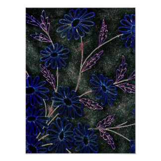 blue on black floral decor poster
