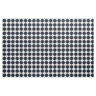 Blue on Black Tiles Fabric