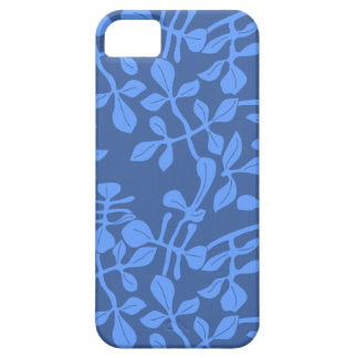 Blue on Blue Leaf Pattern iPhone Barely There Case