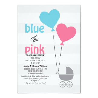 Blue or Pink Baby Gender Reveal Party Invite