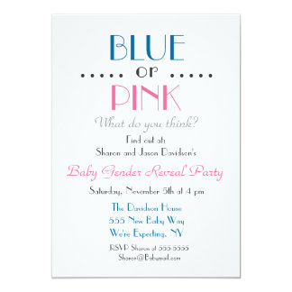 Blue or Pink Gender Reveal Invitation