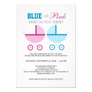 Blue or Pink Gender Reveal Party Invitation