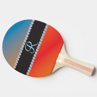 Blue Orange Black Diamond 3d Monogram Initial Ping Pong Paddle