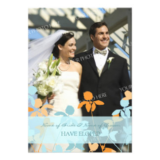 Blue Orange Photo Elopement Announcement Cards