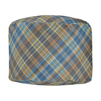 Blue orange plaid pouf