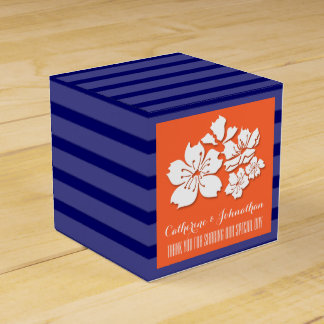Blue orange wedding cherry blossom favor boxes