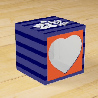 Blue orange wedding cherry blossom party favour box