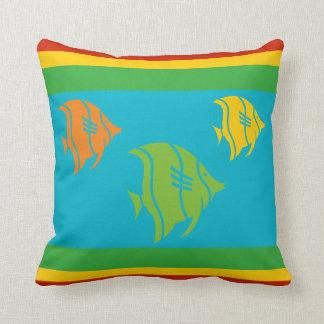 blue, orange, yellow, and Green fish on white Throw Cushion