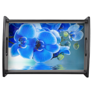 Blue Orchids Serving Tray