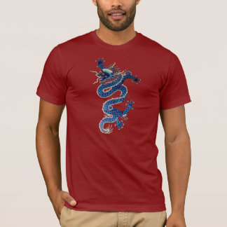 Blue oriental dragon antique Chinese embroidery T-Shirt