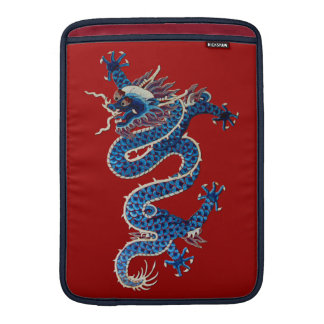 Blue oriental dragons antique Chinese embroidery Sleeve For MacBook Air