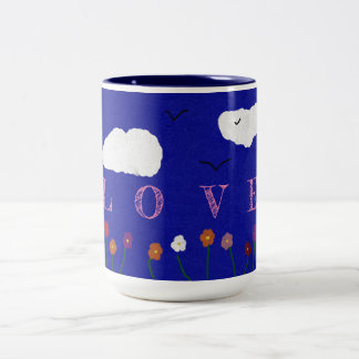 BLUE OUTDOOR LOVE COFFEE MUG, 15oz Two-Tone Coffee Mug