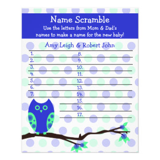Blue Owl Baby Shower Personalized Game 11.5 Cm X 14 Cm Flyer