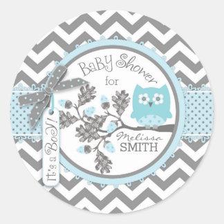 Blue Owl Chevron Print Baby Shower Round Sticker