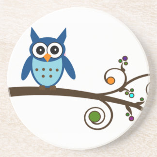 Blue Owl on Colorful Branch Drink Coaster