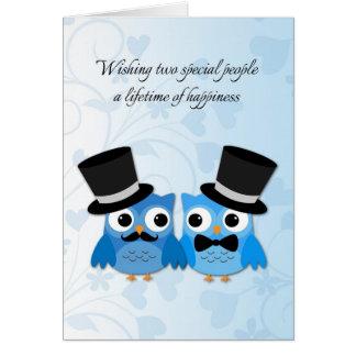 Blue Owls, Gay Men Wedding Congratulations Greeting Card