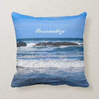 Blue Pacific Ocean With Name Cushion