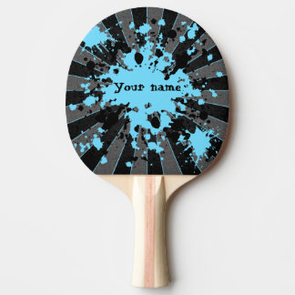 Blue paint splatters black and grey personalised ping pong paddle
