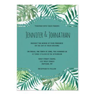 Blue palm destination wedding invitations