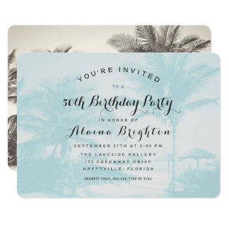Blue Palm Trees Custom Birthday Party Invitation