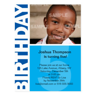 Blue Panel 5th Birthday Invitation Postcard