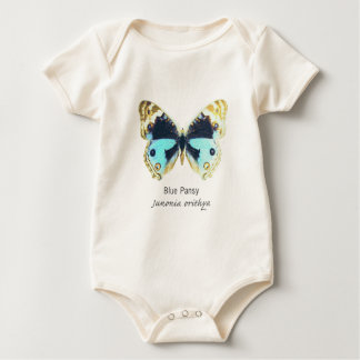Blue Pansy Butterfly with Name Baby Bodysuit